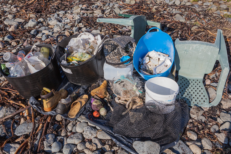 Litter collected from Champ Rouet, Chouet on Guernsey's north west coast on 17th February 2013