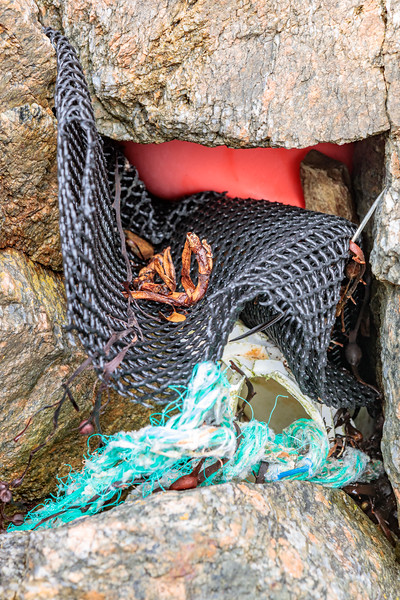 Commercial fishing litter trapped in the western boulder field at Petit Port on 8th May 2020