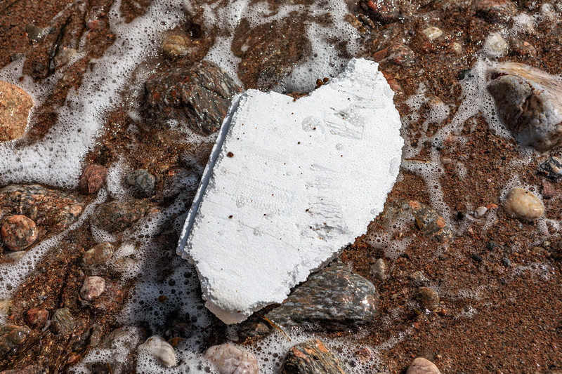 Piece of polystyrene box washed up at Petit Port on Guernsey's south coast on 3rd July 2020