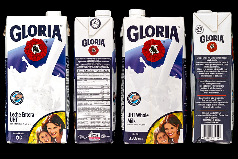 An empty carton of Gloria UHT whole milk from Peru washed up on Guernsey's west coast