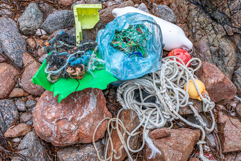 Some of the litter washed up at Petit Port on Guernsey's south coast on 1st October 2019