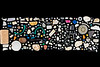 Along with large pieces of plastic litter collected from the Petit Port shore, 158 nurdles were picked up, and some piece of polystyrene,.  The image includes a plastic wine bottle cork, a sea oak, Halidrys siliquosa, air bladder, and a nut.<br /> <br /> File No. 040321 2733<br /> ©RLLord<br /> sealordphoto@gmail.com