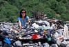 Odette Duerdin with a litter she collected from Champ Rouget, Guernsey during World Oceans Day 2007