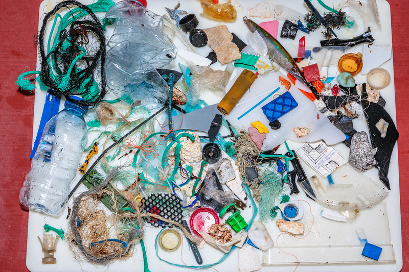 Marine litter collected from Petit Port on Guernsey's south coast on the night of  11 December 2018