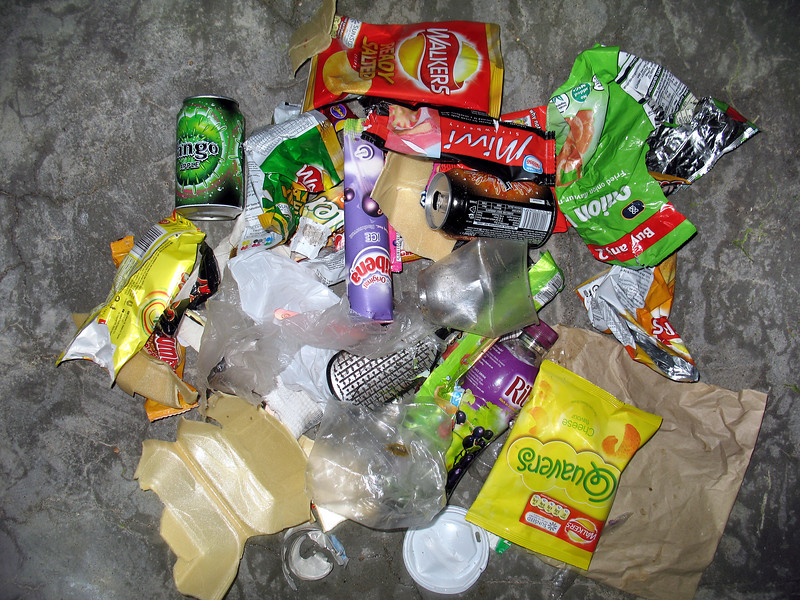 Litter collected from the sea shore bathing pools at La Valette on Guernsey's east coast on 10 June 2007