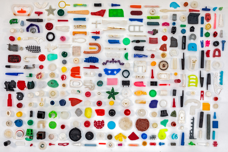 An arrangement of small pieces of plastic collected from the Guernsey sea shore