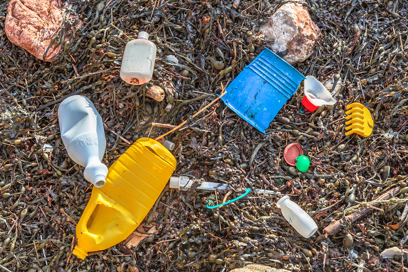 Plastic litter on the strand-line of Petit Port on Guernsey south coast on 16th January 2014