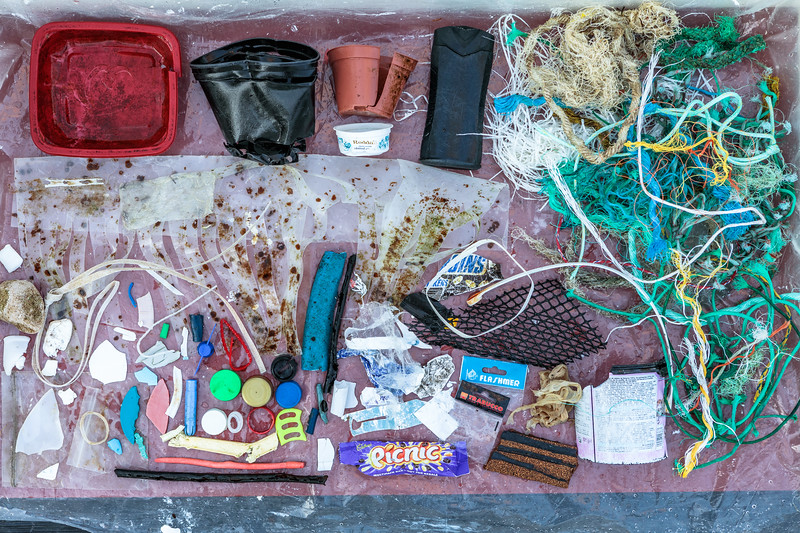 Sea shore litter collected from Petit Port on Guernsey's south coast on  12 November 2018