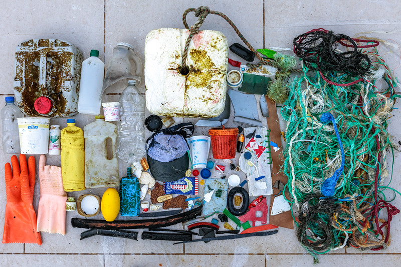 Some of the marine litter collected at Petit Port on Guernsey's south coast on 22nd December 2019