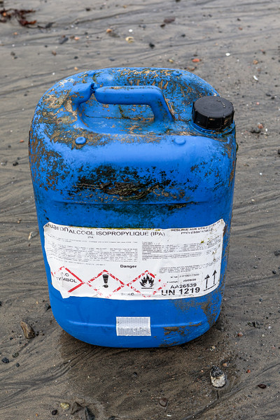 Chemical container for Isopropylic alcohol washed up on the Belle Greve Bay sea shore on 21st September 2019