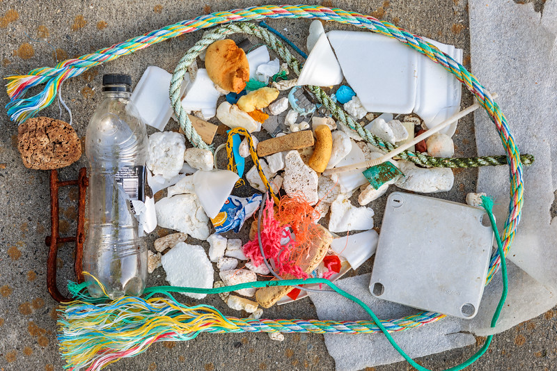 Beach litter items at Petit Port on Guernsey's south coast on 2 May 2018
