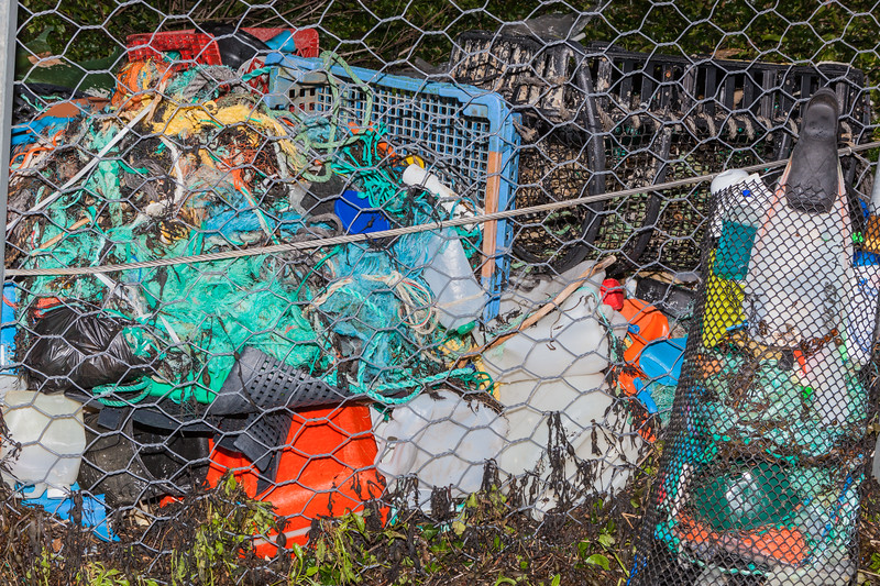 Ocean litter collected from the beach at Petit Port, Guernsey