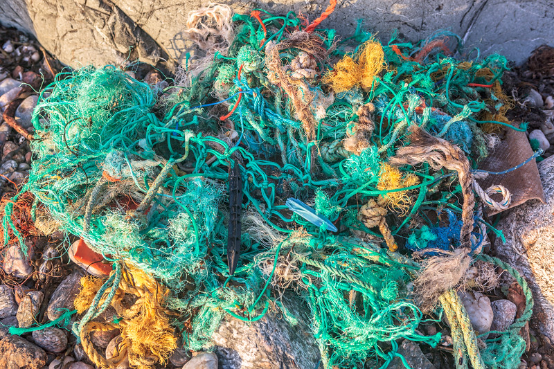 Commercial fishing litter washed up at Petit Port on Guernsey's south coast on 2nd February 2014