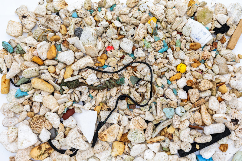 Polystyrene, polyurethane pieces and other litter collected from the Pleinmont sea shore on Guernsey's southwest coast
