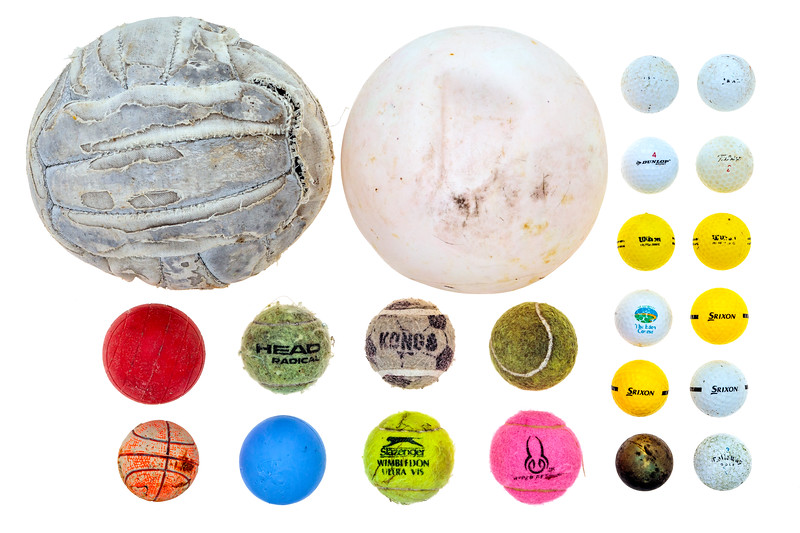 A collection of balls found on the Guernsey sea shore