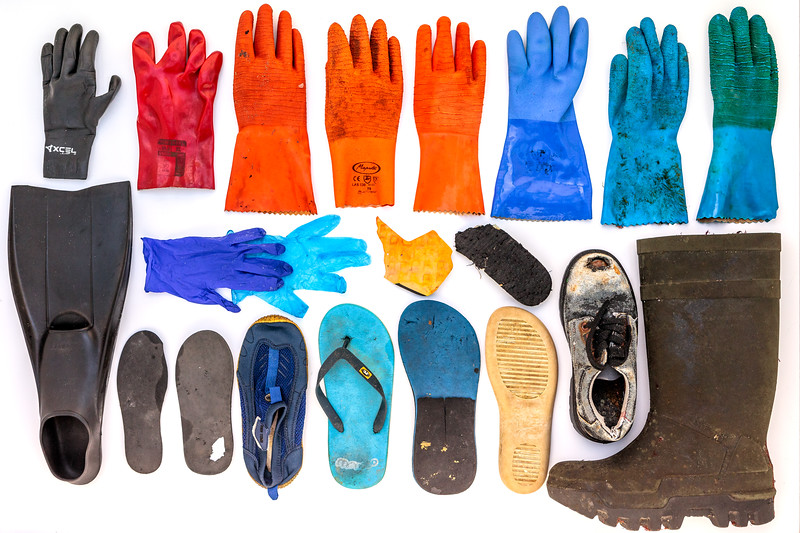 Gloves and footwear collected mostly from Petit Port sea shore on Guernsey's south coast during 2018