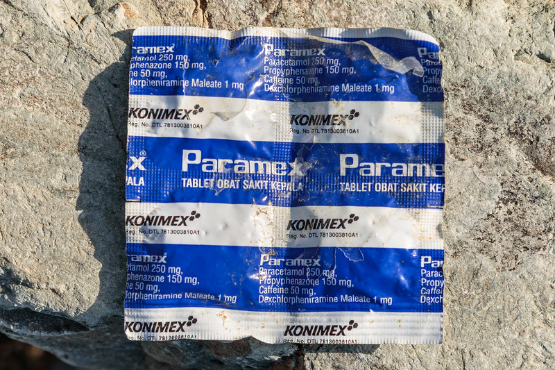 Packet of headache pills of Indonesian origin washed up at Pleinmont on Guernsey's south coast on 29th September 2019