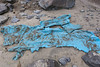 Blue plastic sheet dug up from underneath the sand of Belle Greve Bay on the 14th June 2013