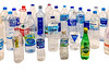 A selection of water bottles that have washed up on the Guernsey sea shore