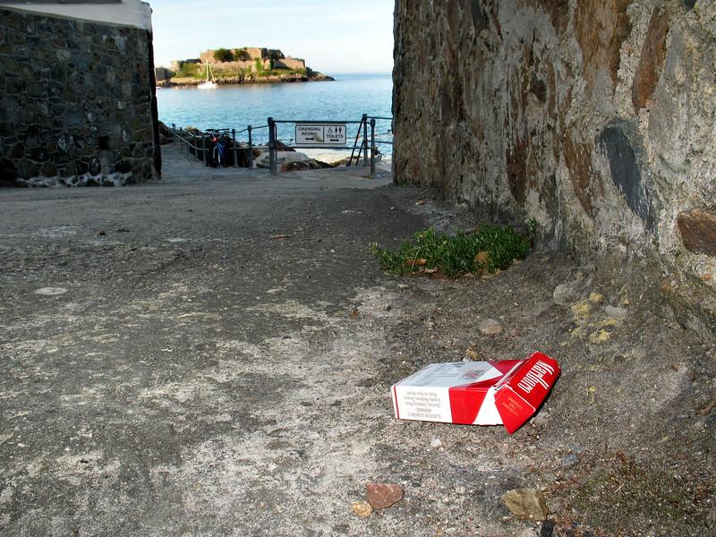Cigarette packet litter at La Valette