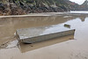 Aluminium barge from France washed up at Petit Port on the afternoon of 15th February 2020 during storm Dennis
