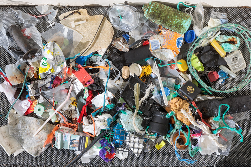 Quick litter pick on the sea shore of Belle Greve Bay by the Halfway bus stop on Guernsey's east coast on 7 March 2018