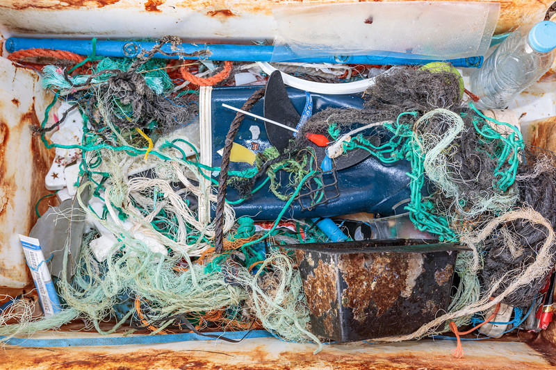 Some beach litter collected at Petit Port on Guernsey's south coast on 12th January 2020
