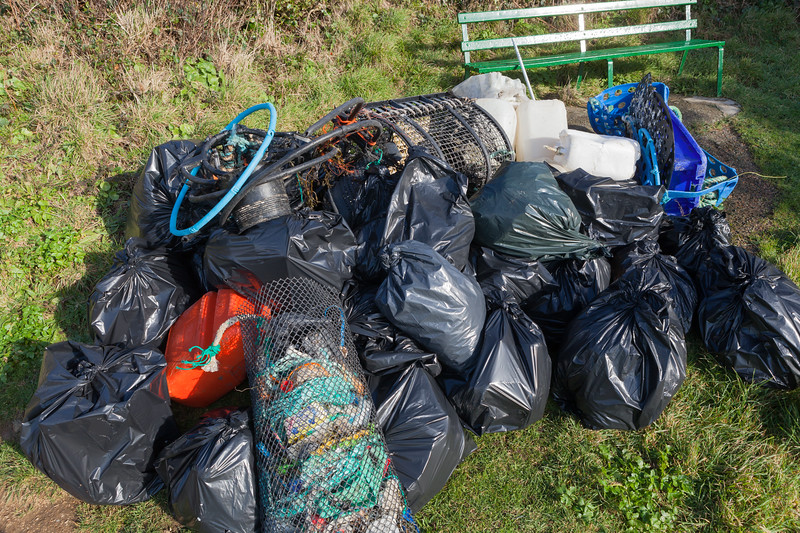 Bags of marine litter collected by volunteers from Petit Port on Guernsey's south coast on 19 January 2014