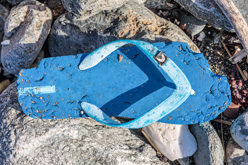 Flip flop washed up at Pleinmont on Guernsey's south west coast on 29th September 2019