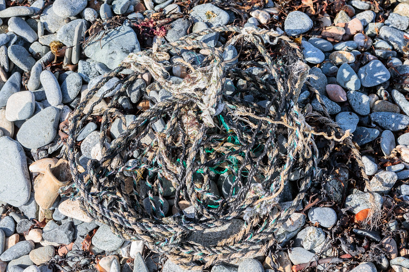 Twisted rope from the strand-line at the Halfway on Belle Greve Bay on Guernsey's east coast on the 19th February 2019