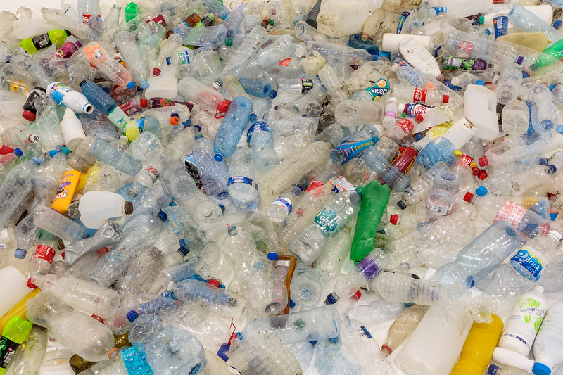 539 plastic bottles and containers collected from the Guernsey sea shore