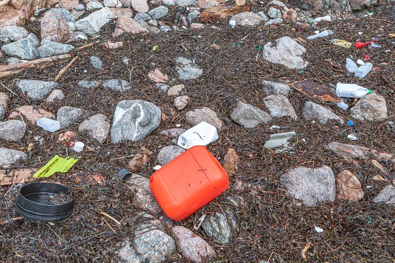 Plastic sea borne litter on the Petit Port stand line on 16 January 2014