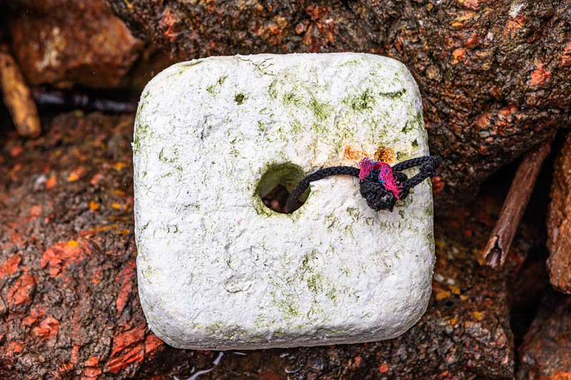 Polystyrene fishing float washed up at Petit Port on Guernsey's south coast on 12th October 2019