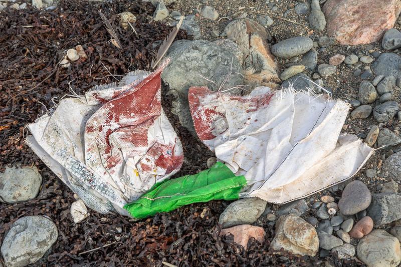 Nylon mesh bag on the Pleinmont shore on 9th October 2020