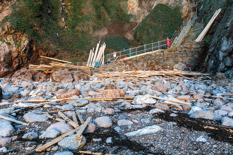 Planks of wood from the MV Koningsborg cargo spill washes up at Petit Port on Guernsey's south coast