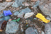 Strand line litter at Petit Port on Guernsey's south coast on 16th February 2014