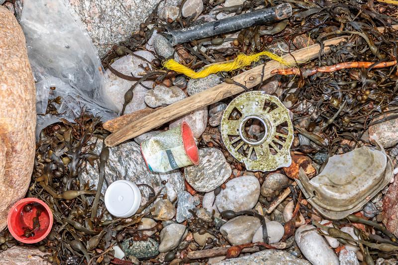 Marine litter on the Petit Port sea shore on 10 February 2019