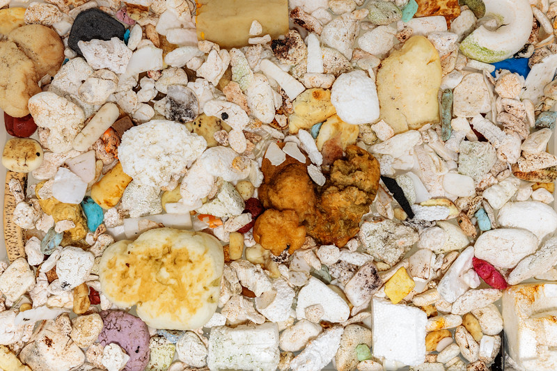 Polystyrene and foam pieces collected from the Petit Port sea shore on Guernsey's south coast