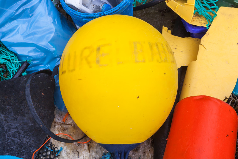 Marine plastic litter collected at Petit Port on Guernsey's south coast on 16th February 2014