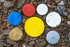 A few of the plastic bottle tops collected from Petit Port on Guernsey's south coast on 17th February 2021
