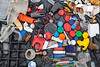 Small pieces of plastic litter collected from the sea shore at Champ Rouget, Guernsey on 28 April 2013