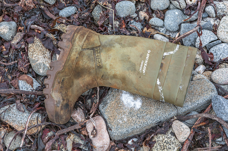 A Dunlop Purofort boot collected from the Champ Rouget sea shore, Chouet on Guernsey's north coast on  28th April 2013