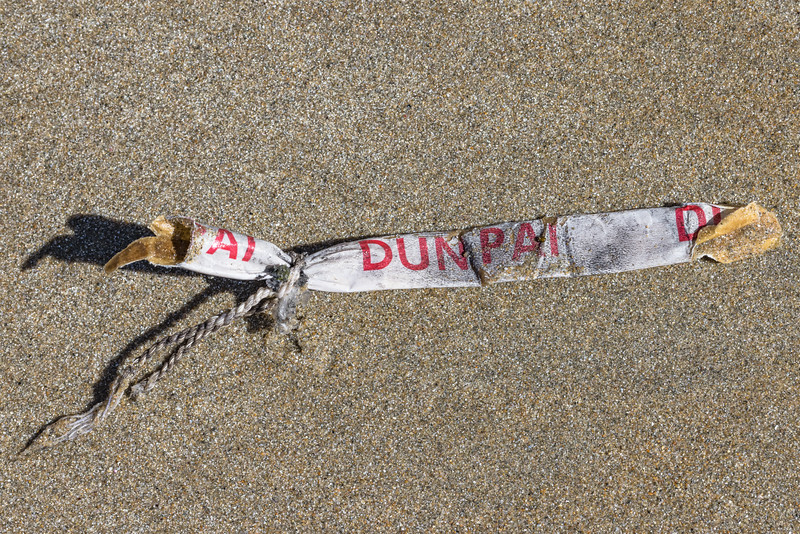 Dun Pai firework litter washed up at Petit Port on Guernsey's south coast on the 11th May 2021