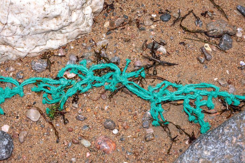 A piece of fishing net washed up at Petit Port on Guernsey's south coast on 15th February 2020
