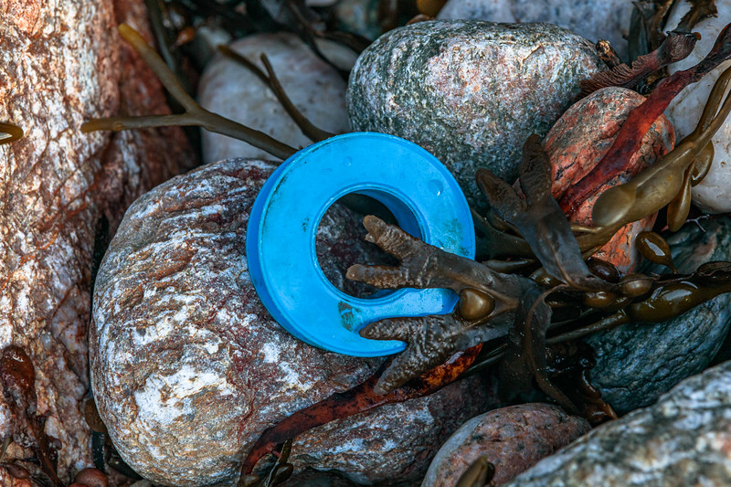 Plastic tape roll washed up at Petit Port on Guernsey's south coast on 12th December 2019