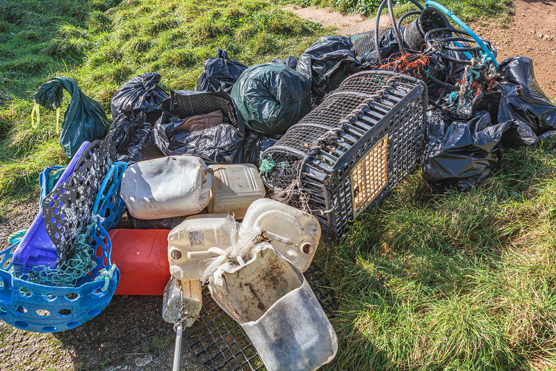 Litter collected from Petit Port on Guernsey's south coast on the 19th January 2014