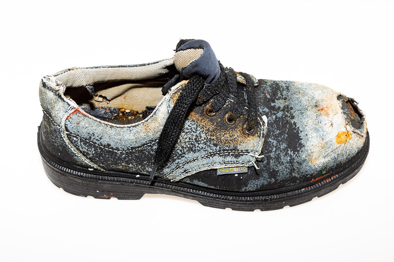 A Shandong Gobont Shoes company antipuncture safety shoe collected from Petit Port sea shore on Guernsey's south coast