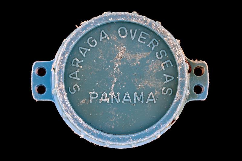 Saraga Overseas Panama plastic cap found at Petit Port on Guernsey's south coast on 14th January 2020