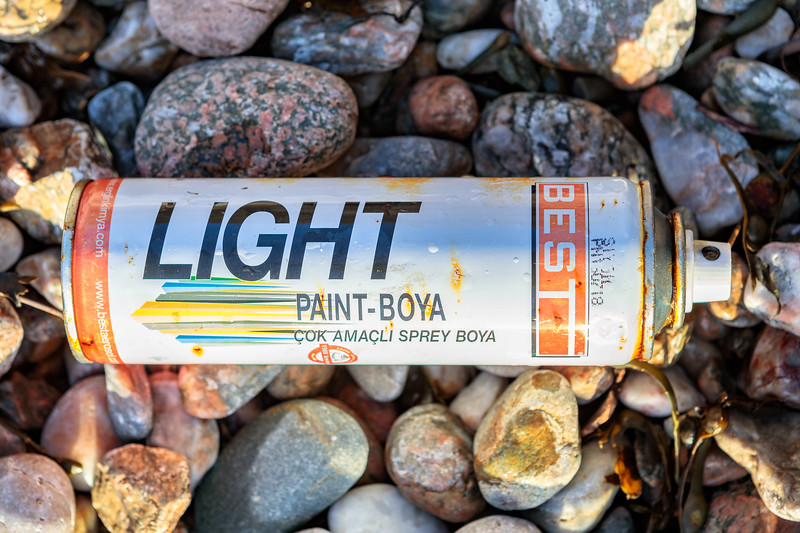Turkish metal can of spray paint washed up at Petit Port on Guernsey's south coast
