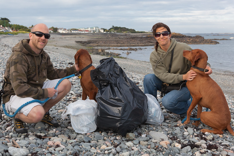 Jockathon & Rachel Pettitt doing voluntary beach cleaning on Belle Greve Bay on Guernsey's east coast on 14th June 2013